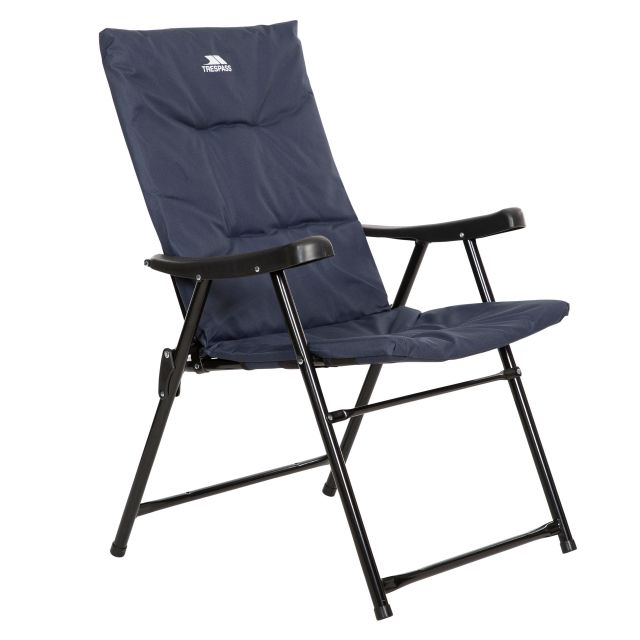 Trespass Folding Padded Camping & Garden Deck Chair Paddy in Navy, Angled view of chair