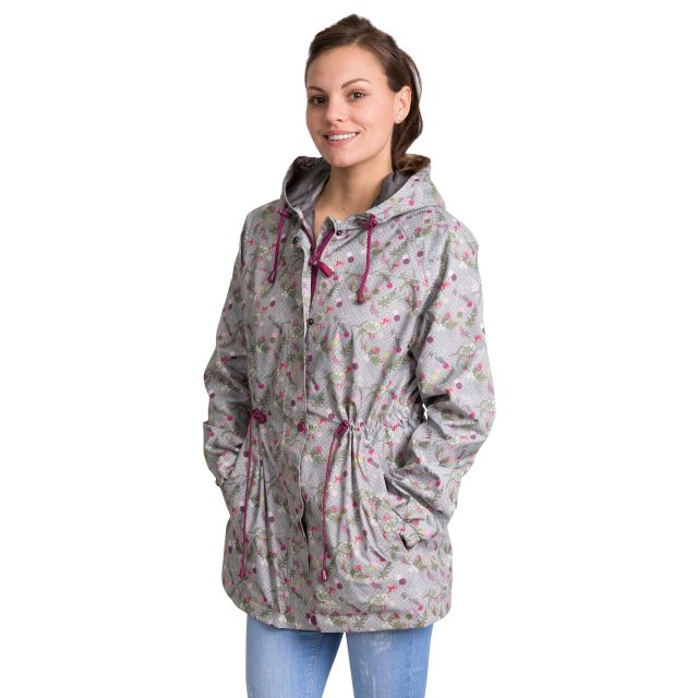 Pastime Women's Printed Waterproof Jacket in Light Grey