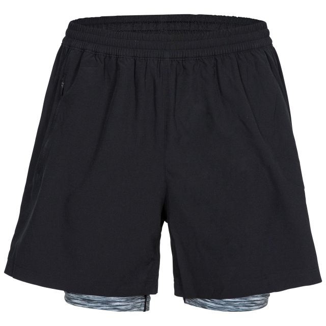 Patterson Men's Dual Layer Active Shorts in Black