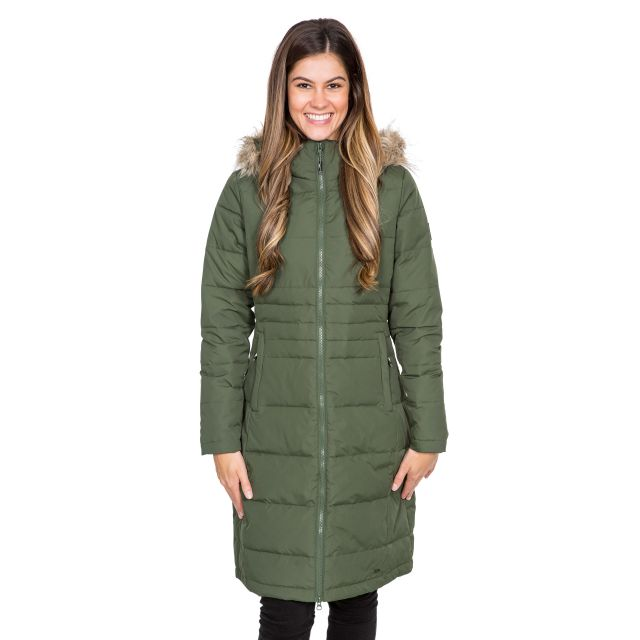 Phyllis Women's Long Down Parka Jacket in Green