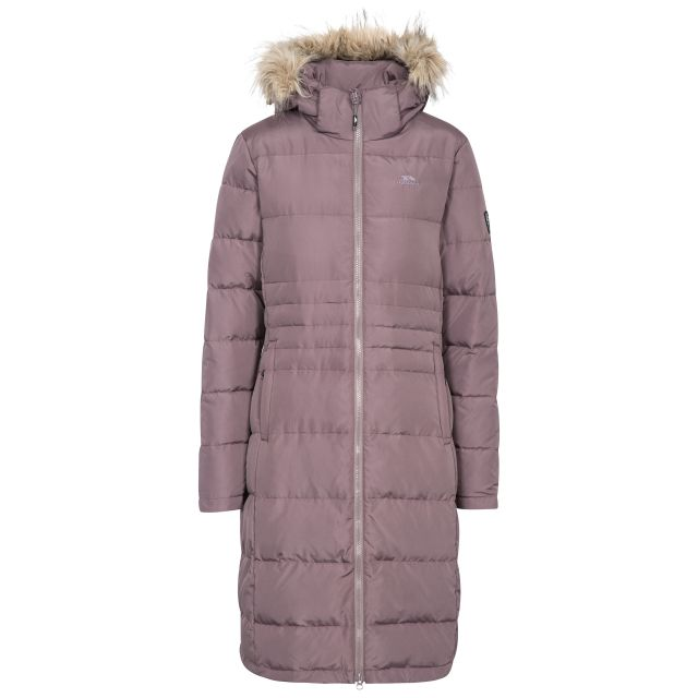 Trespass Womens Down Parka Jacket Long Phyllis in Light Purple