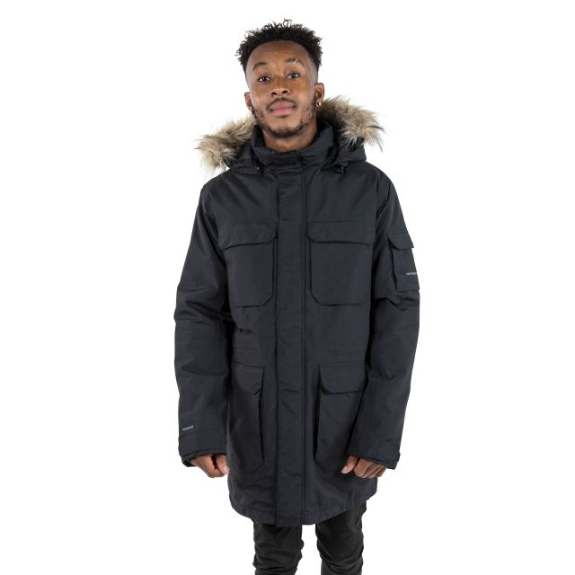 Pixilation Men's DLX Waterproof Parka Jacket in Black