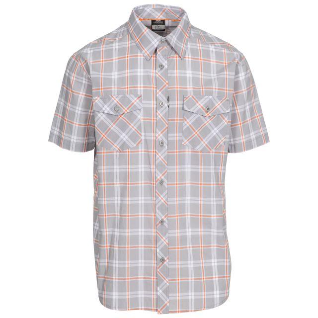 Powderpost Men's Casual Short Sleeve Shirt in Light Grey