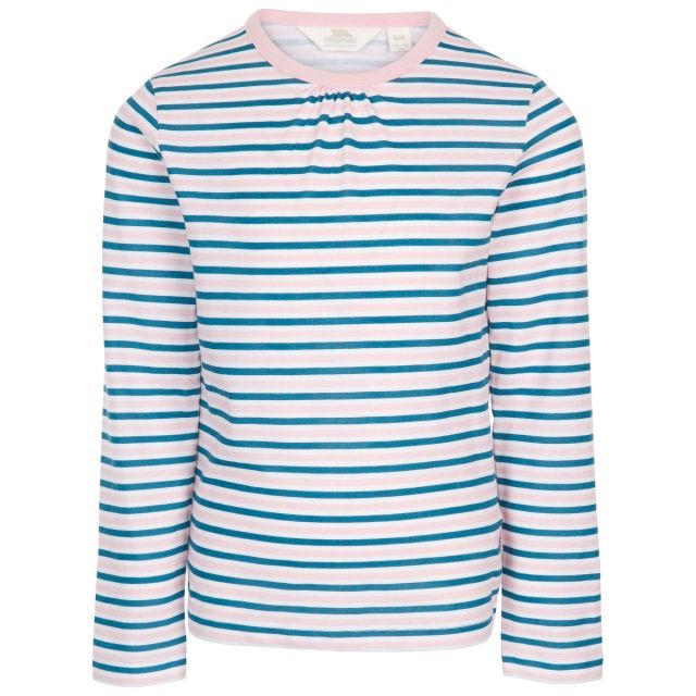 Trespass Kids Long Sleeve top Round Neck Stripe Proceeds Blue, Front view on mannequin