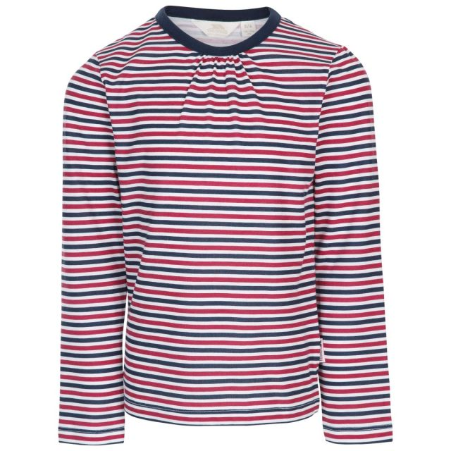 Trespass Kids Long Sleeve top Round Neck Stripe Proceeds Navy, Front view on mannequin