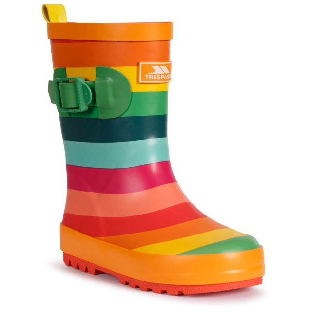 Trespass Kids' Welly Boot Puddle Rainbow Stripe