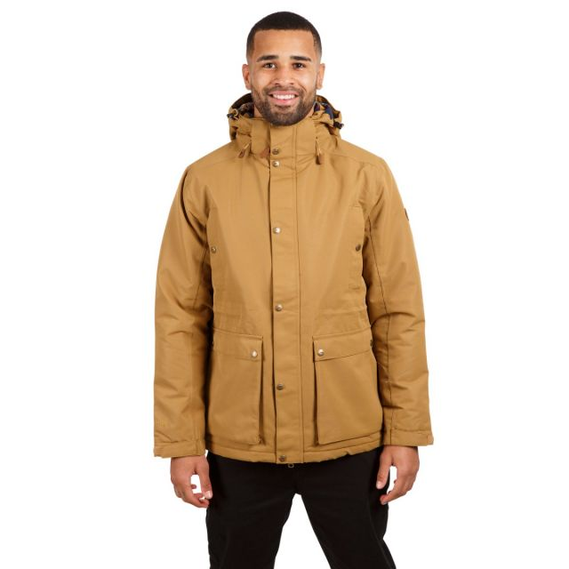 Trespass Men's Waterproof Padded Jacket Hood Puxtoncombe Dijon