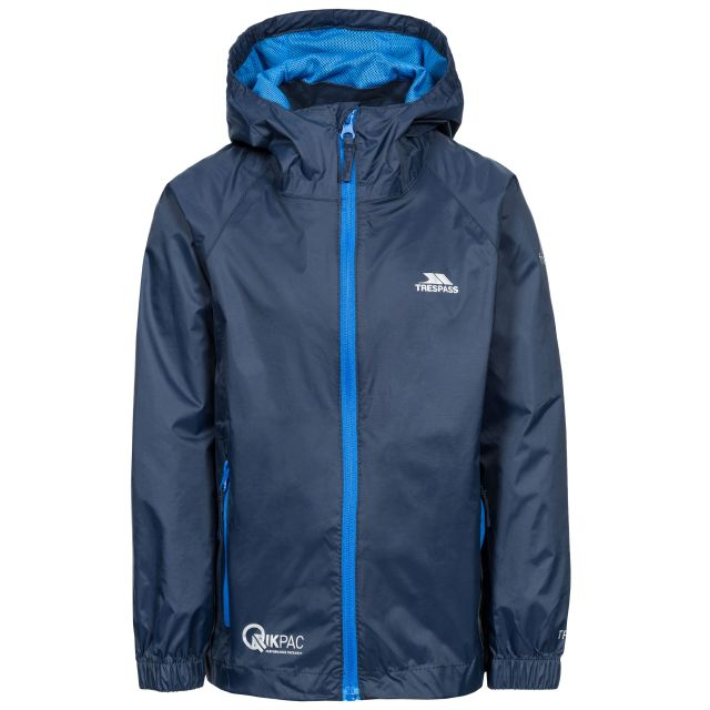 Qikpac Kids' Waterproof Packaway Jacket in Navy