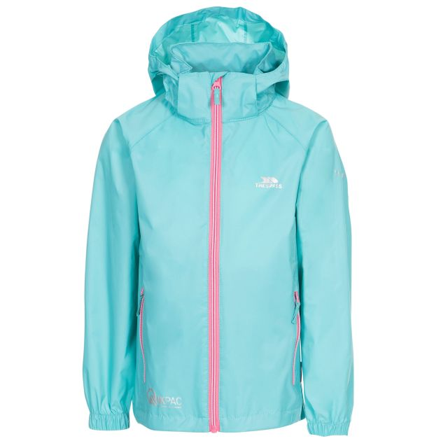 Qikpac X Kids' Waterproof Packaway Jacket in Light Blue