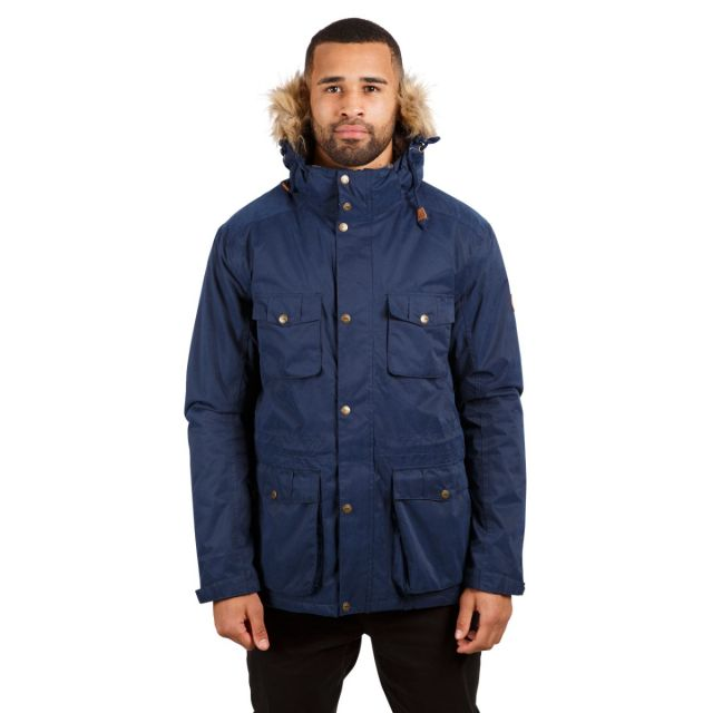 Quebeckford Men's Padded Waterproof Parka Jacket in Navy