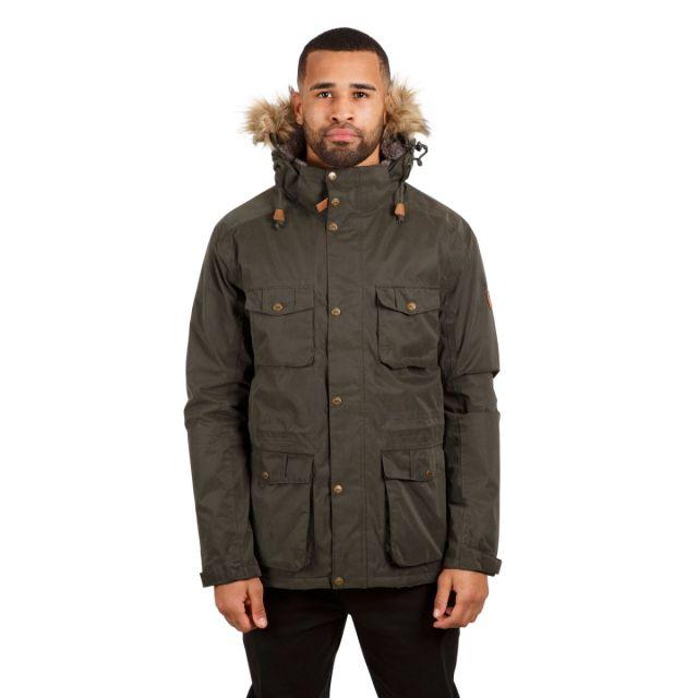 Quebeckford Men's Padded Waterproof Parka Jacket in Olive