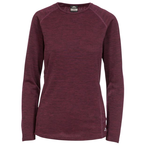 Trespass Womens Base Layer Top with Long Sleeves Racquel Fig, Front view on mannequin