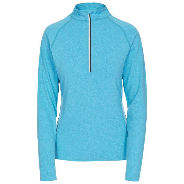Rado Women's 1/2 Zip Long Sleeve Active Top in Turquoise