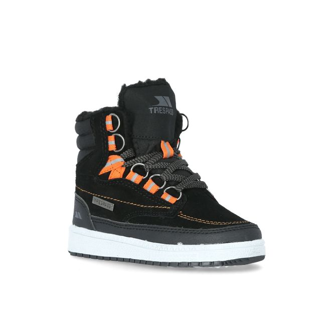 Raffiki Kids' Suede Hi Top Trainers - BLK