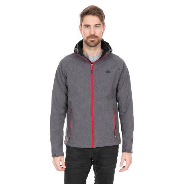 Rafi Men's Hooded Softshell Jacket in Dark Grey Marl