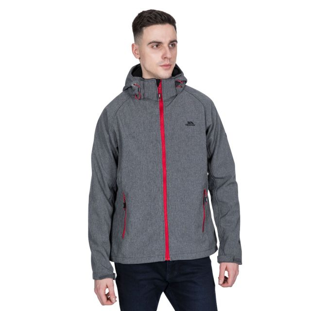 Rafi Men's Hooded Softshell Jacket in Grey