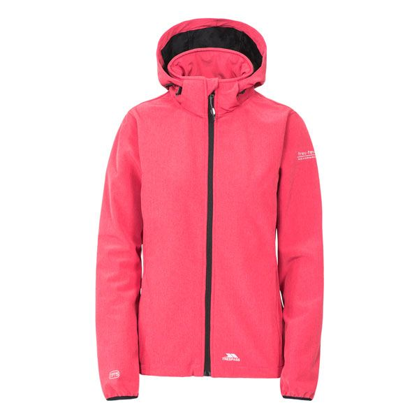 Ramona Women's Softshell Jacket in Pink, Front view on mannequin