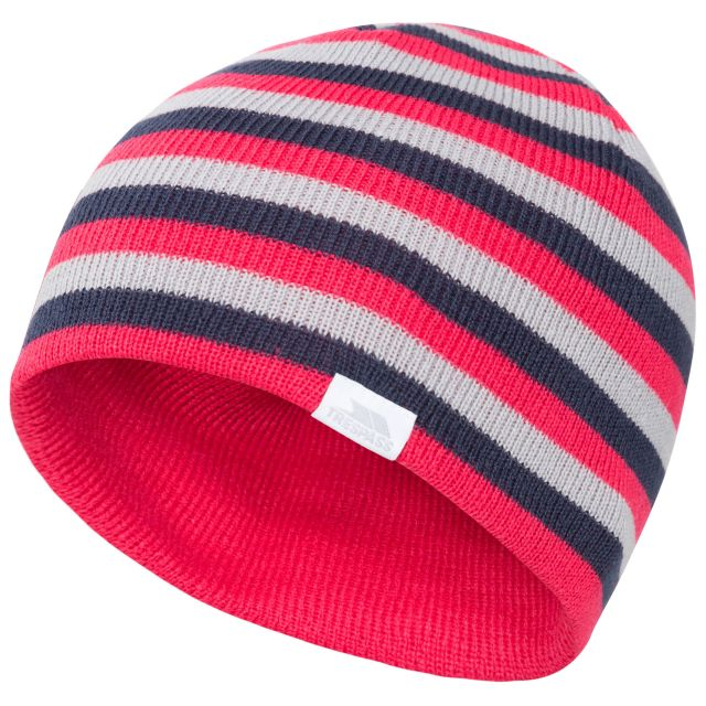 Reagan Kids' Reversible Beanie Hat in Pink, Hat at angled view