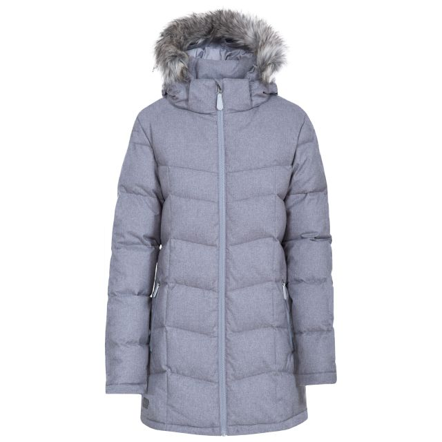 Reeva Women's Down Parka Jacket  in Light Grey
