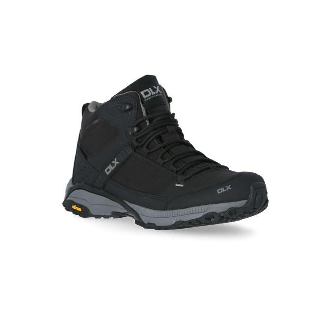 Renton Men's DLX Vibram Walking Boots in Black, Angled view of footwear