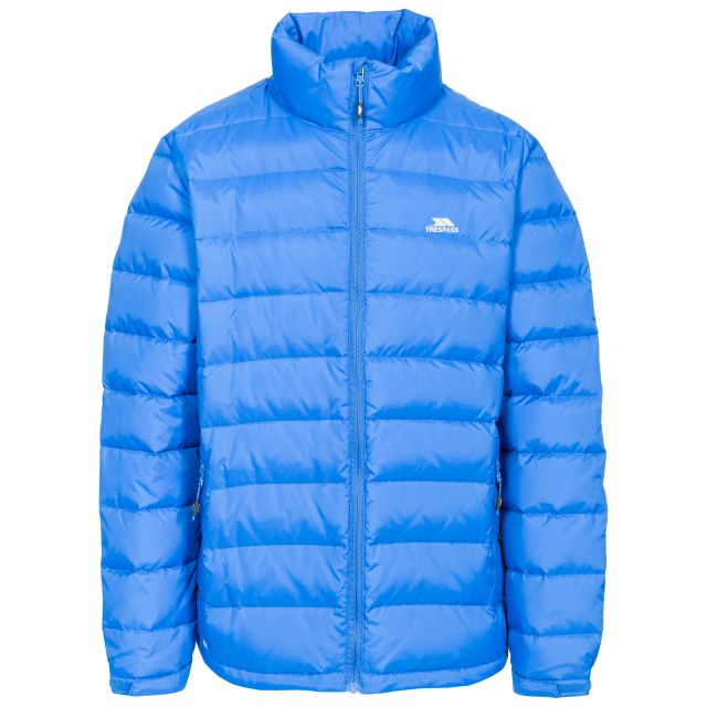 Retreat Men's Casual Down Jacket in Blue, Front view on mannequin
