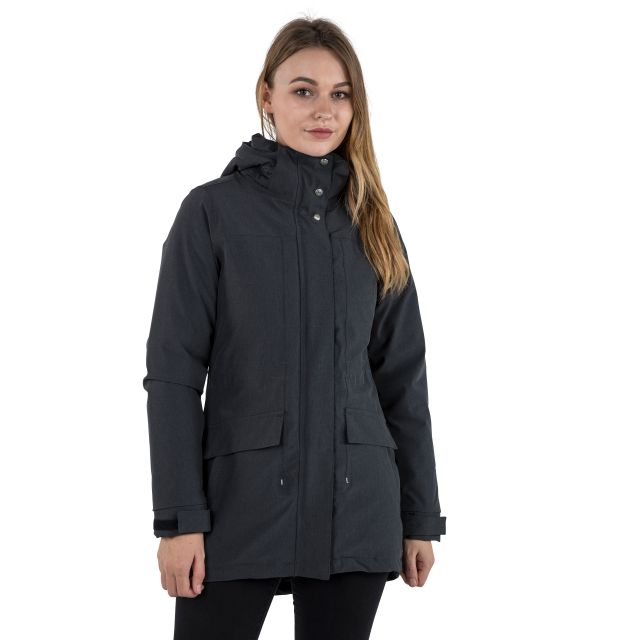 Reveal Women's Fleece Lined Waterproof Parka Jacket in Black