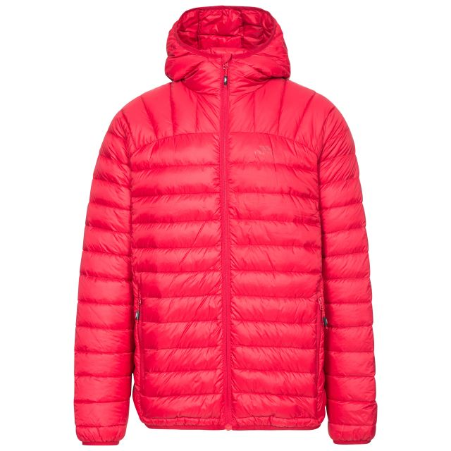 Romano Men's Down Packaway Jacket in Red, Front view on mannequin