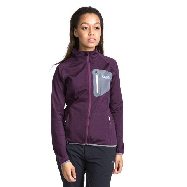 Ronda Women's DLX Breathable Softshell Jacket in Burgundy, Hood detail on model