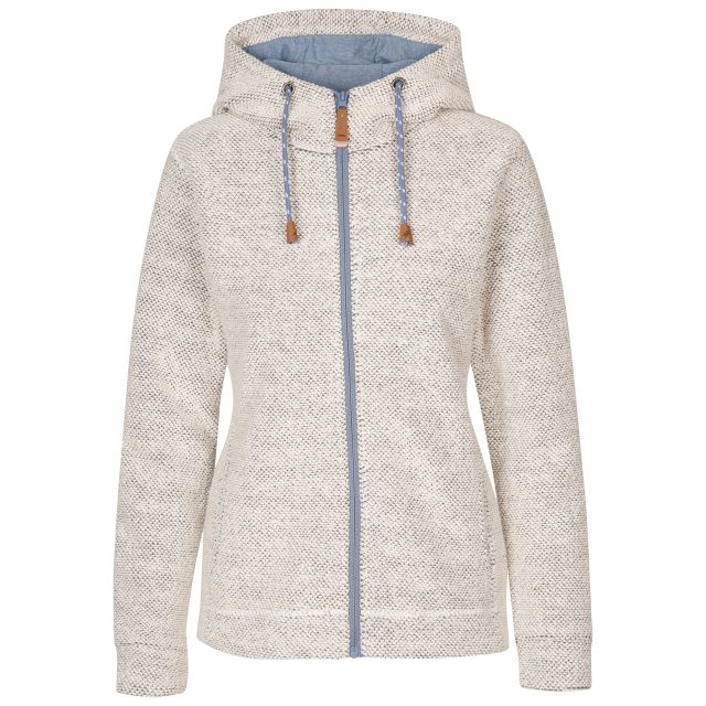 Trespass Women's Casual Hoodie Ronee Off White, Front view on mannequin