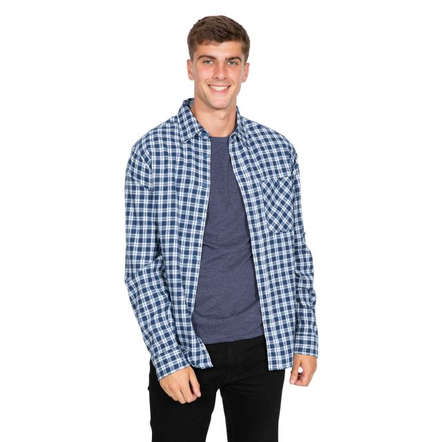 Sailfoot Men's Checked Cotton Shirt in Navy