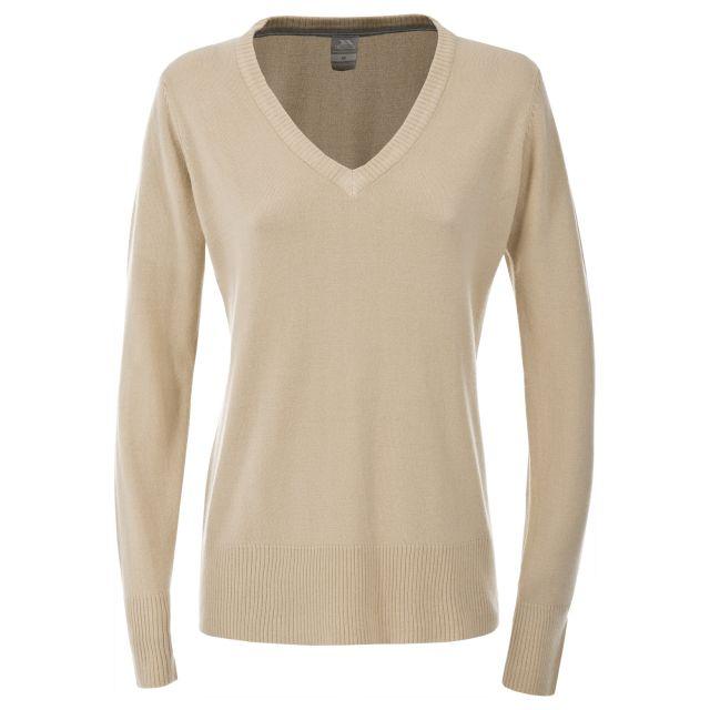 Sansa Women's Long Sleeve V-Neck T-shirt in Beige
