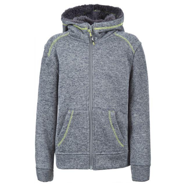 Saul Boys Full Zip Fleece Hoodie in Light Grey