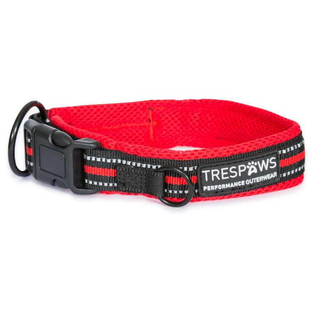 Trespaws Reflective Padded Dog Collar Scooby in Red