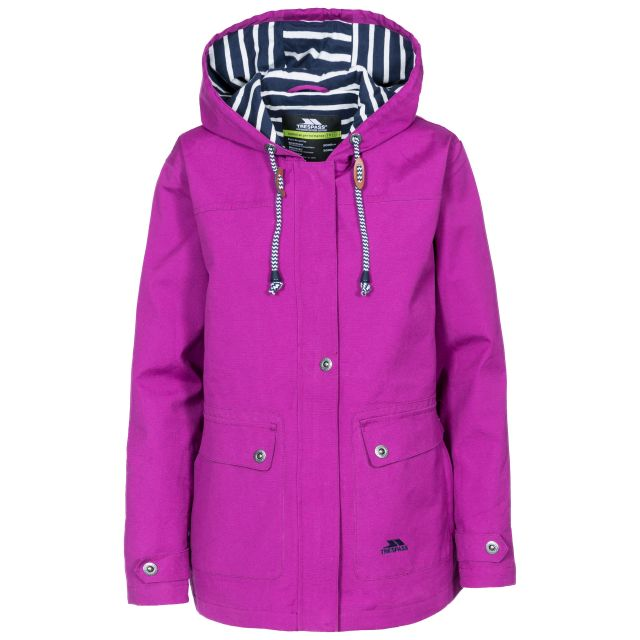Seawater Women's Waterproof Jacket in Purple, Front view on mannequin
