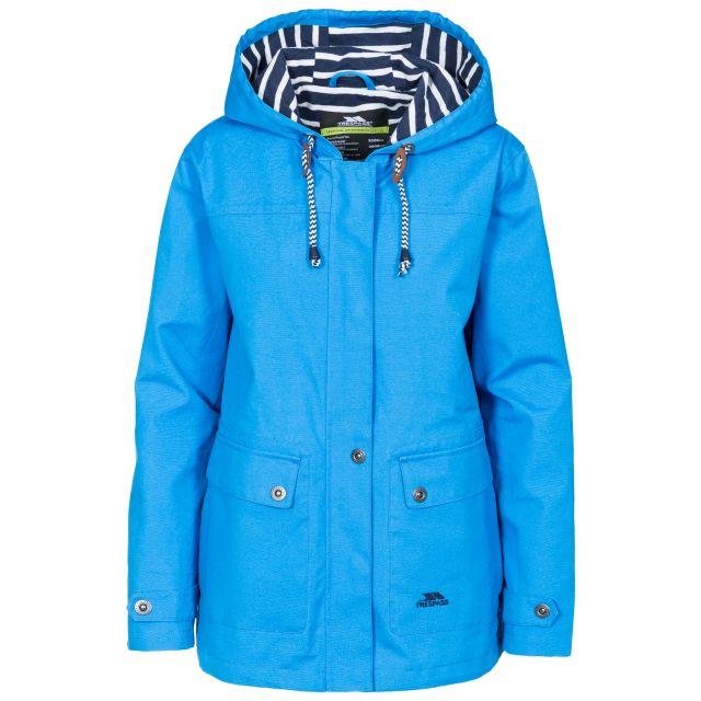 Seawater Women's Waterproof Jacket in Blue, Front view on mannequin