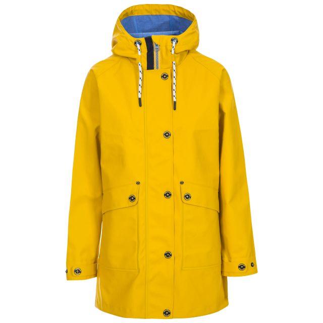 Trespass Womens Waterproof Jacket Shoreline Yellow, Front view on mannequin