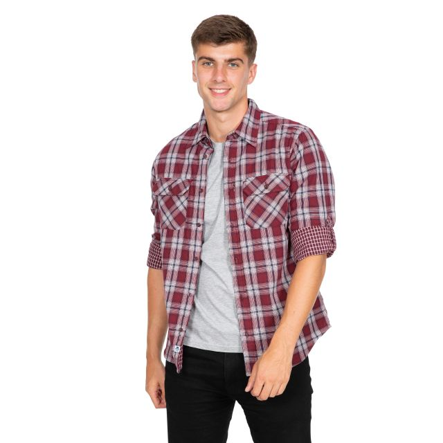 Shottery Men's Checked Cotton Shirt in Red