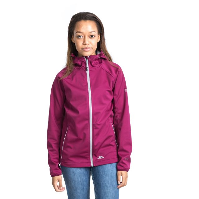 Sisely Women's Hooded Softshell Jacket in Burgundy