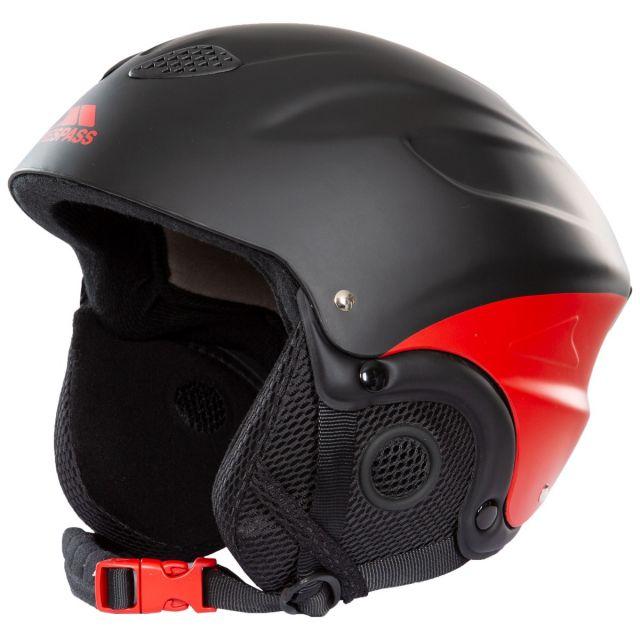 Skyhigh Adults' Ski Helmet in Black and Red, Angled view of helmet