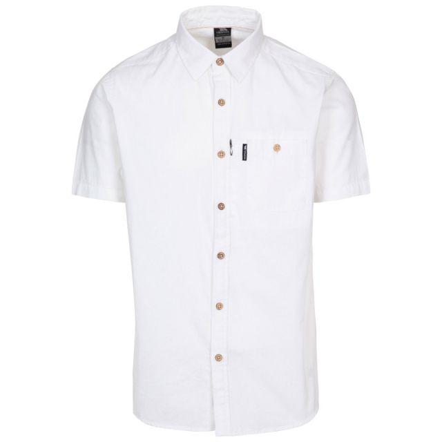 Slapton P Men's Short Sleeved Shirt in White, Front view on mannequin