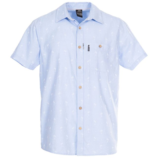Slapton Palm Tree Men's Jaquard Shirt in Light-Blue