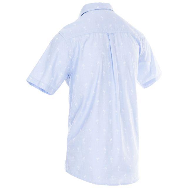 Slapton Palm Tree Men's Jaquard Shirt in Light Blue