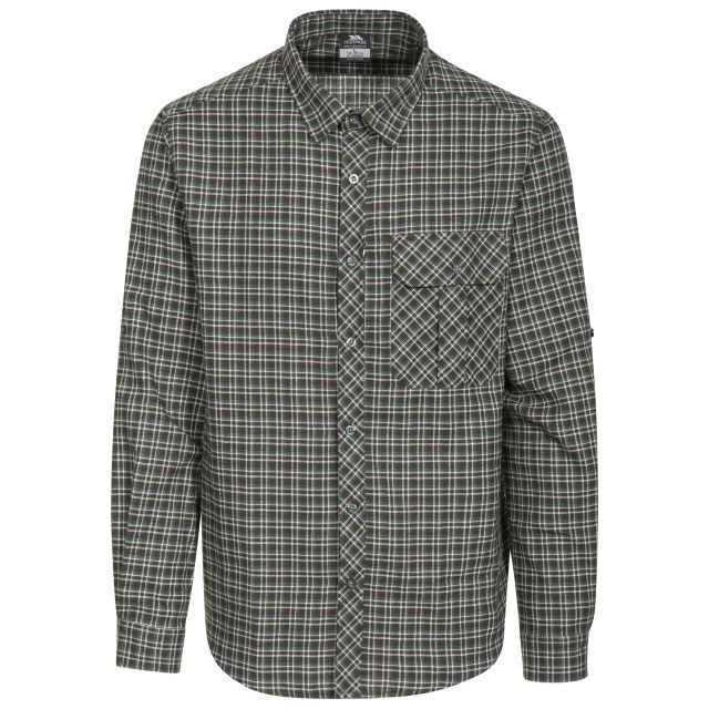 Snyper Men's Checked Shirt in Green, Front view on mannequin