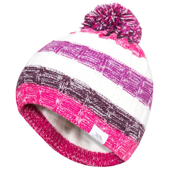 Solano Kids' Bobble Hat in Purple, Hat at angled view