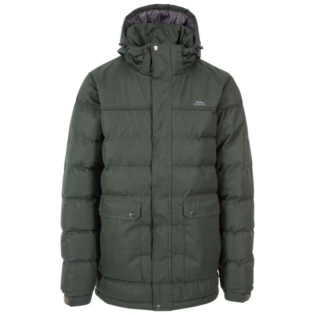 Specter Men's Padded Jacket in Khaki, Front view on mannequin