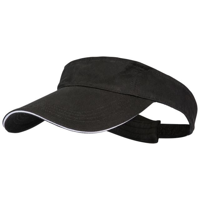 Spence Adults' Adjustable Visor in Black, Hat at angled view