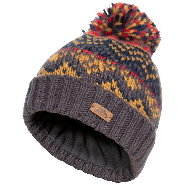 Sprouse Kids' Patterned Bobble Hat in Grey, Hat at angled view