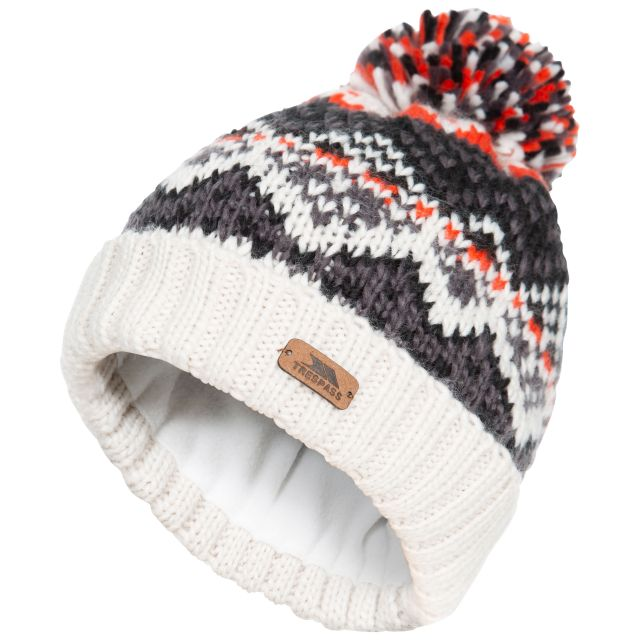 Sprouse Kids' Patterned Bobble Hat in Tan, Hat at angled view