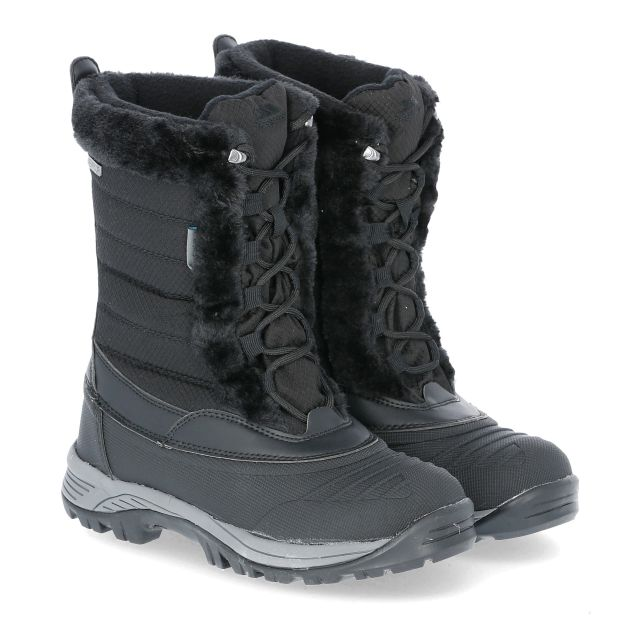 Stalagmite II Women's Fleece Lined Waterproof Snow Boots in Black