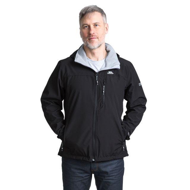 Stanford Men's Hooded Softshell Jacket in Black